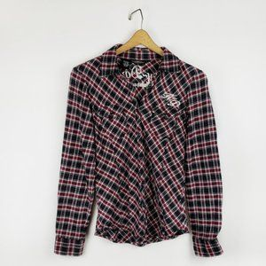 Harley-Davidson plaid flannel button front top S